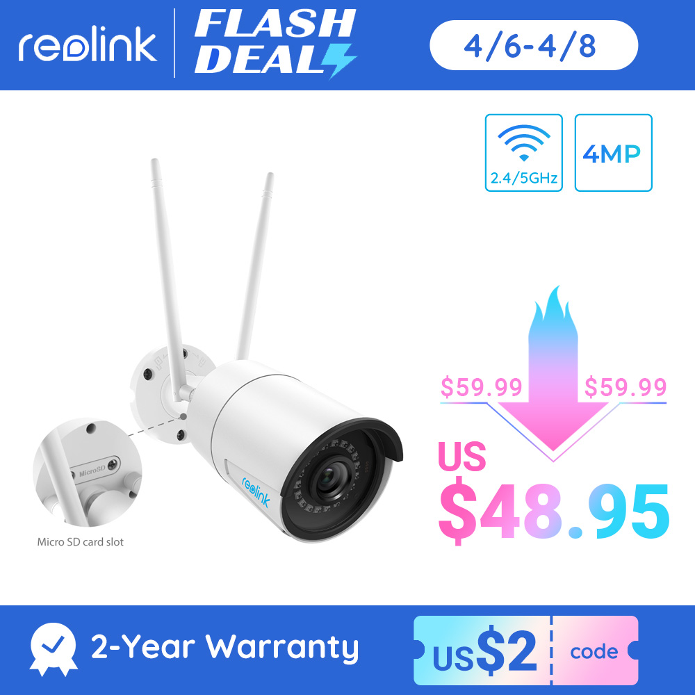 Reolink 4MP wireless ip camera wifi 2.4G/5Ghz Onvif infrared night vision waterproof outdoor indoor home surveillance RLC 410W|hd ip cam|ip camsecurity cam - AliExpress