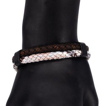 Leather bracelet otokodesign 55988 (Brown, magnetic lock, genuine leather)