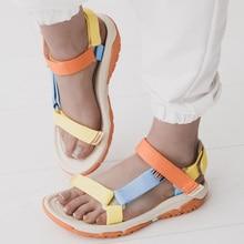 Сандалии женские на плоской подошве, босоножки на липучке, удобная качественная летняя обувь, очень яркие