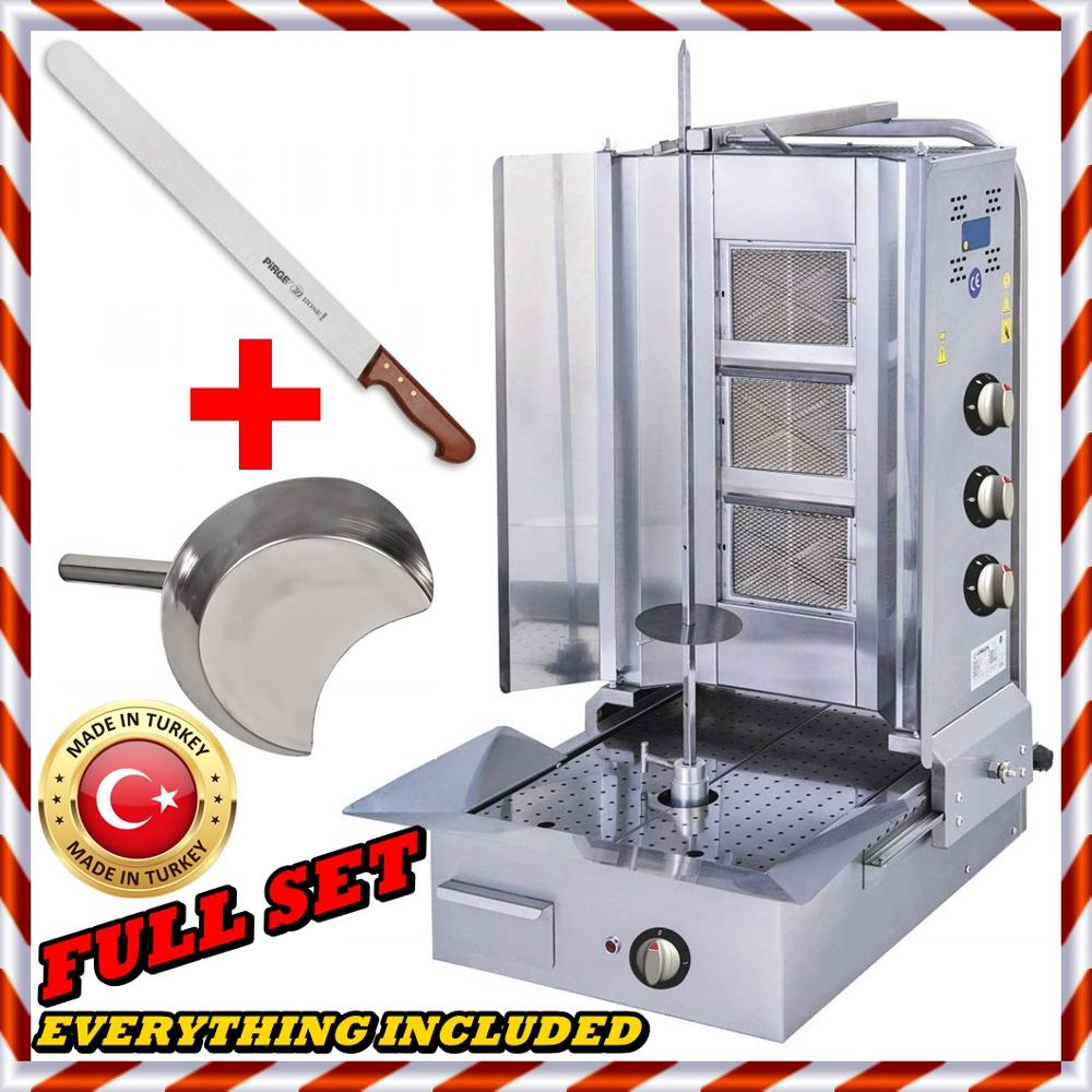 FULL SET A++ AUTOMATIC SPINNING Vertical Commercial Broiler BBQ Shawarma Gyro Turkish Doner Kebab Tacos Al Pastor Grill Machine