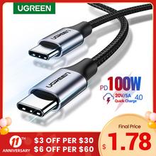 Ugreen USB C na USB typ C dla Samsung S20 PD 100W 60W kabel dla MacBook iPad Pro szybkie ładowanie 4 0 USB-C szybki kabel USB do ładowania tanie tanio Rohs TYPE-C CN (pochodzenie) 60W 100W USB C to USB C Cable USB 2 0 PD Cable Aluminum+Nylon Braided Wire 0 5M(1 64 FT) 1M(3 28 FT) 2M(6 56FT)