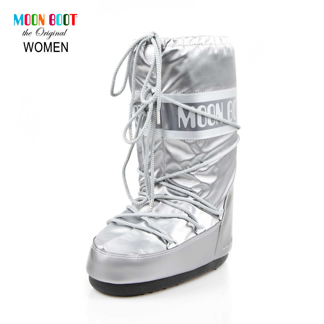 Moon Boot Silver Women'S Snow Boots 14016800-002 Glance Sılver classic after-ski boots