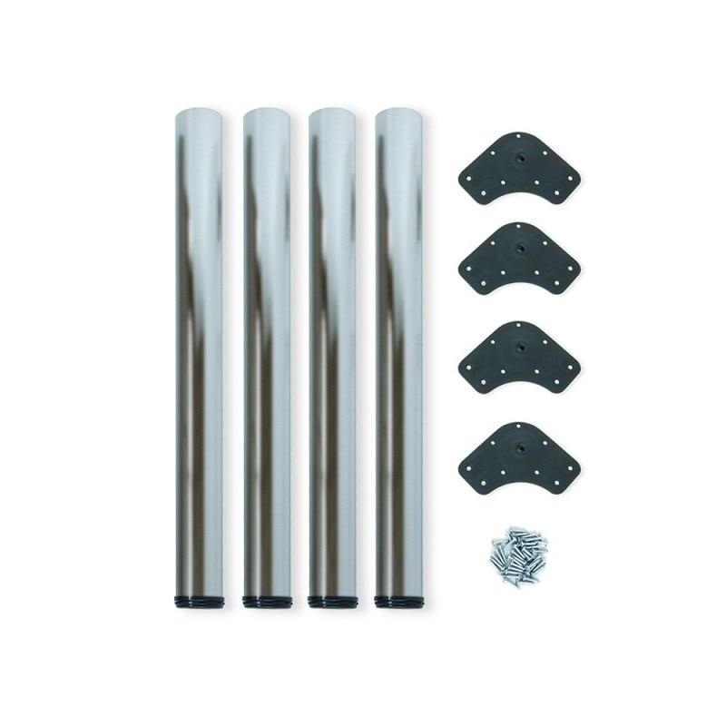 Kit 4 Table Legs Adjustable Emuca D. 60x710mm Painted Steel Satin Nickel