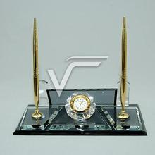 Crystal Table Name Desk-Set Black Glass It will add Prestige to your Table with its Silver and Yellow Color Clock, Double Pen,
