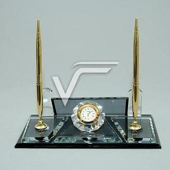 Crystal Table Name Desk-Set Black Glass It will add Prestige to your Table with its Silver and Yellow Color Clock, Double Pen, golfers pen set with clock