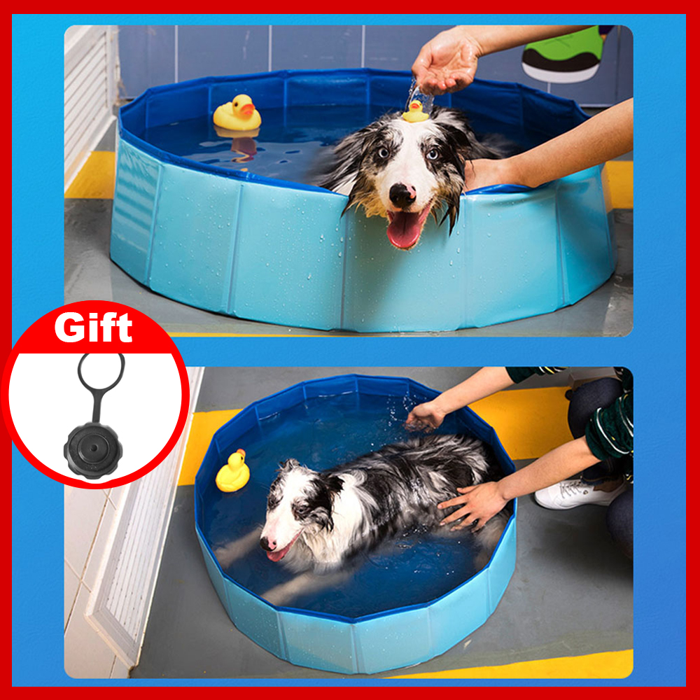 Dog Pool Foldable Dog Swimming Pool Pet Bath Swimming Tub Bathtub Pet Swimming Pool Collapsible Bathing Pool for Dogs Cats Kids