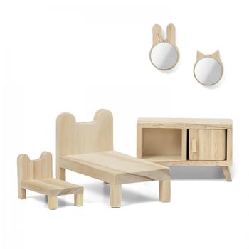 Doll House Accessories Lundby  Set of wooden furniture for house DIY Bedroom children toys kids game dolls doll houses bed accessories