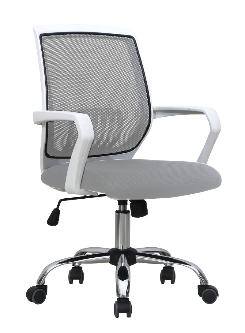 Office Armchair AGNEL, White, Gas, Rocker, Mesh And Gray Fabric