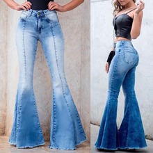 New Women Skinny Jeans Bell-bottom Pants Slim Fit Washed Denim Pants Casual Long Pants Sexy High Waist Trousers