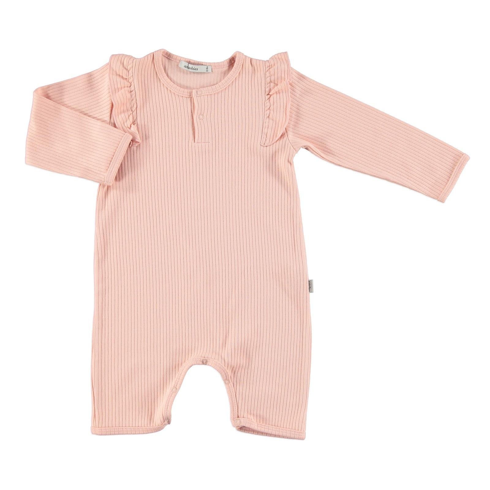 Ebebek Antebies Baby Organic Pink Reported Rib Footless Romper