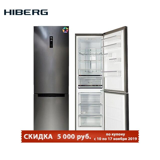 Холодильник с системой No Frost HIBERG RFC-372DX NFXd. общий обьем 372 л (237 л полезный в холодильной камере, 100 л полезный в морозильном отделении) фасад - темная нержавеющая сталь, ящик с регулировкой влажности