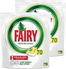 Fairy all-in-one 140 lavagem máquina de lavar louça cápsula detergente, limão perfume (70x2)