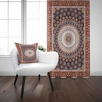 Else Brown Gray Authentic Geometric Vintage Turkish 3D Print Living Room Bedroom Window Panel Curtain Combine Gift Pillow Case