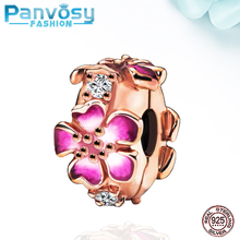 New Jewelry Making Flower Sterling Silver 925 Bead Fit Pandora Charms Silver 925 Original Bracelet 2020 Charm DIY Rose Gold Gift цена 2017