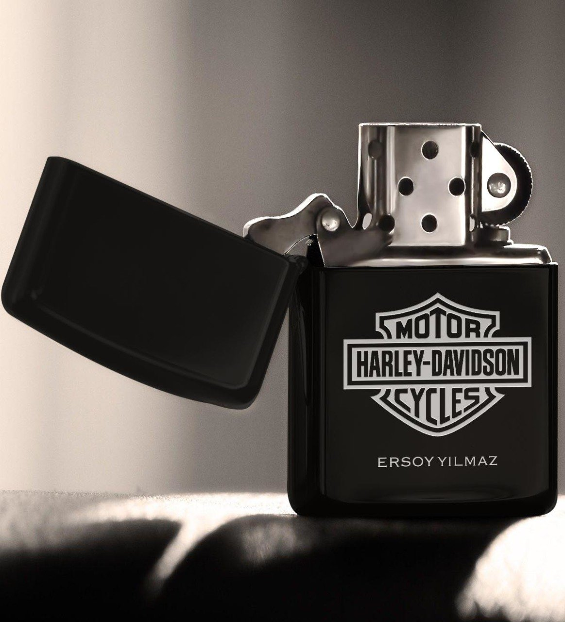 Personalized Harley Davidson Gasoline Black Metal Cigarette Lighter