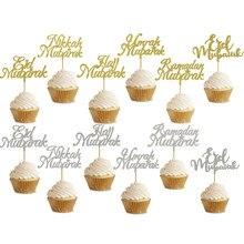 20 piezas 3x5Inch Glitter oro plata Eid Mubarak Ramadan Mubarak Cupcake Topper para el musulmán Eid Decoración Para Magdalena de fiesta de cumpleaños