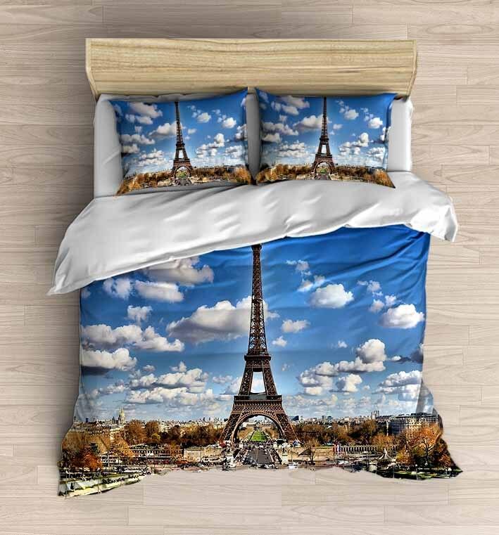 Else 4 Piece Blue White Clouds Paris Eiffel Tower 3D Print Cotton Satin Double Duvet Cover Bedding Set Pillow Case Bed Sheet