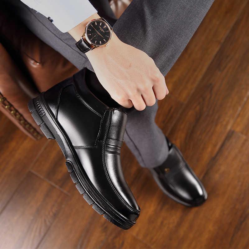 2019 neu Mann Winter Stiefel Qualität Mikrofaser Leder Schuhe Marke Weiß Warme Verdicken Innenrohr Stiefel 38-44 Mann Schnee leder Stiefel