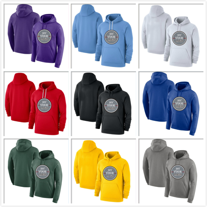 Customize Your Team Sport Training Hoodies Pullover Solid Color Embroidered Sweatshirts S-4XL Stitch Logo Any Size Color Men Kid