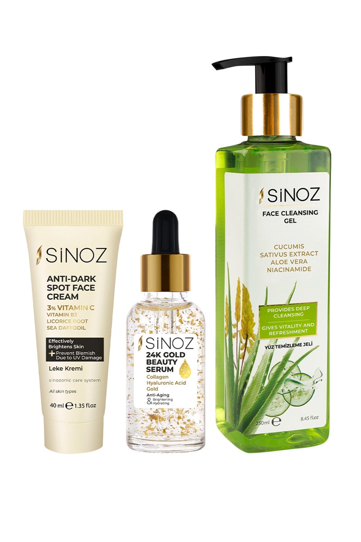 Sinoz blemish cream 40 Ml + 24k gold beauty Serum + 30 Ml + facial cleanser gel-bioaqua cosmetic cosmetic Protein for face