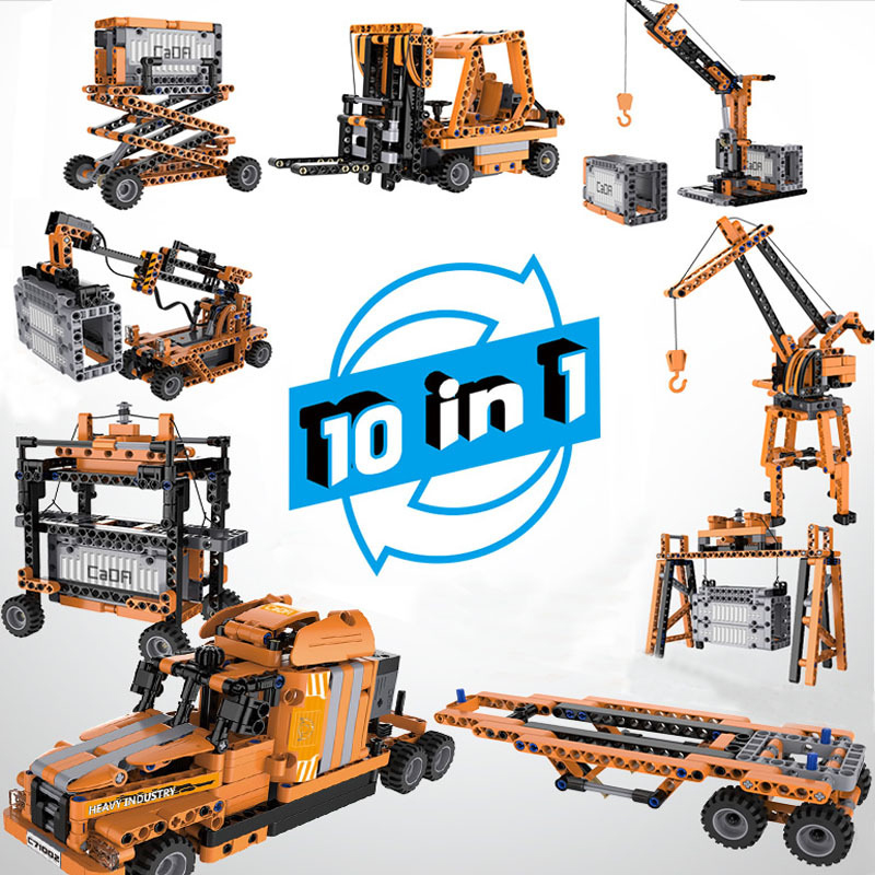 CADA Technic 10 In 1 Mechanical Work Laboratory Building Blocks technic Bricks With Power Function Toys For Children Gifts 1