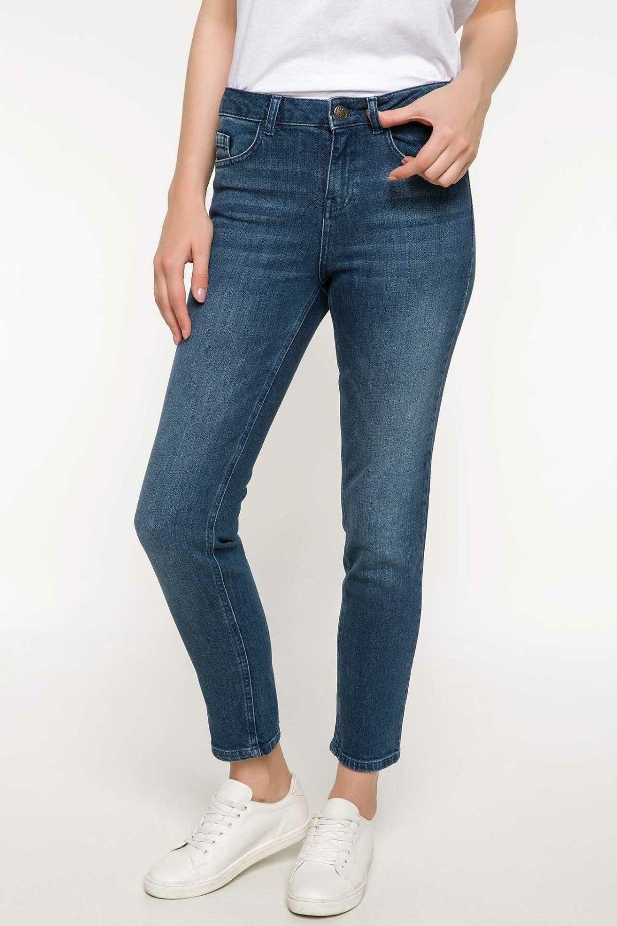 DeFacto Blue Women Skinny Jeans Denim Simple Mid-waist Denim Stretch Fashion Nine Minutes Pencil Trousers-J2688AZ18SM