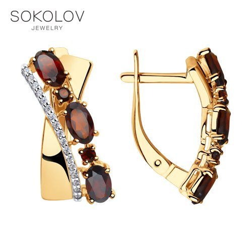 SOKOLOV Drop Earrings With Stones With Stones With Stones With Stones With Stones With Stones With Stones With Stones Of Gold With Garnets And Cubic Zirconia Fashion Jewelry 585 Women's Male