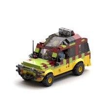 Buildmoc jurassic explorer jeep blocos mundo floresta parque veículo tijolos criador brinquedos educativos carros modelo kit blocos para crianças
