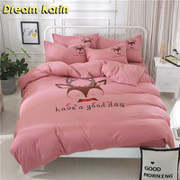 Cartoon Cute Bedding Set Pink Kids Duvet Cover Sets King Size Single Double Queen Bed Sheet Linens Christmas Gift Bedclothes