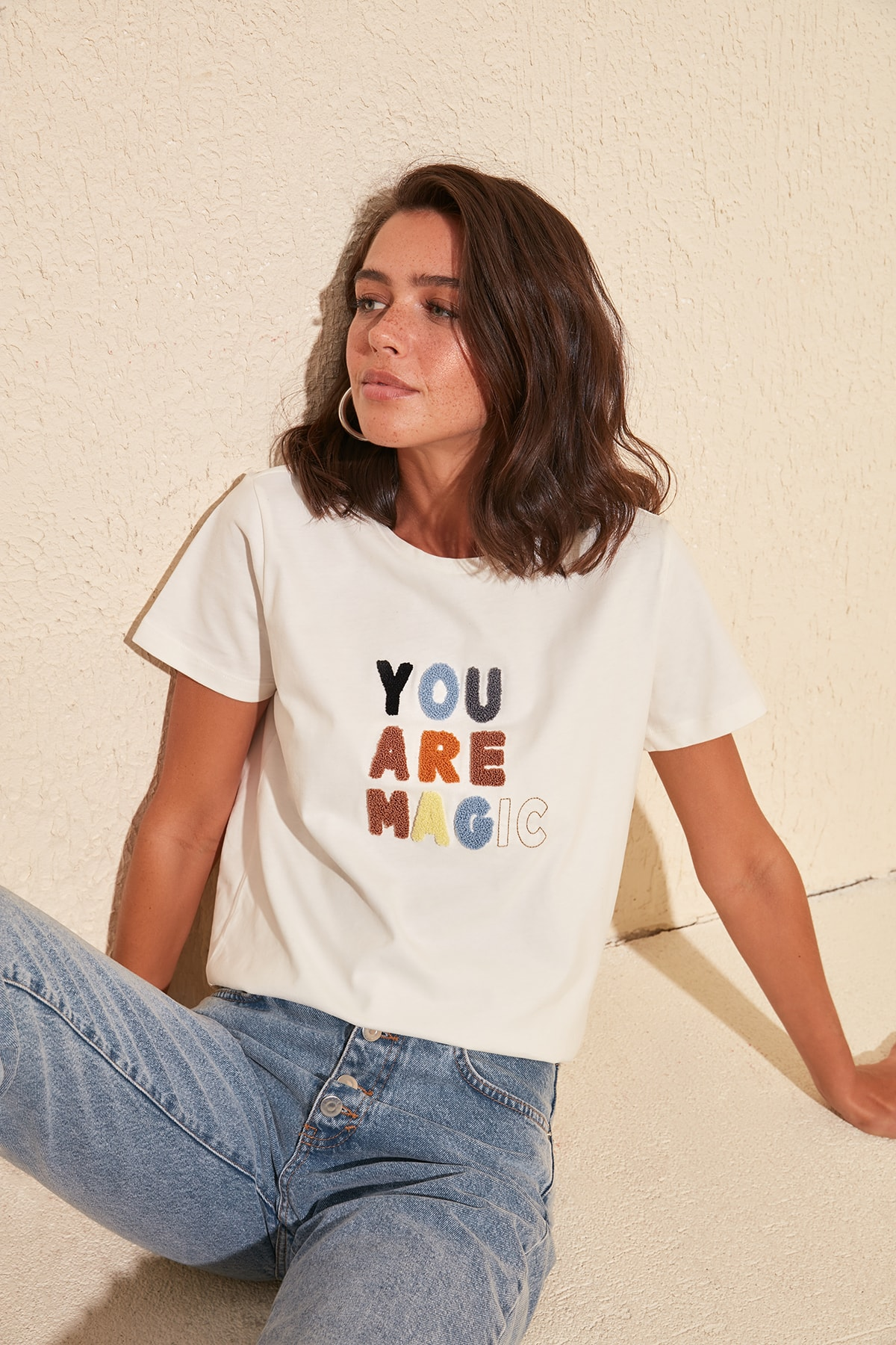 Trendyol Embroidered Basic Knitted T-Shirt TWOSS20TS0498