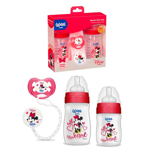 Wee Baby Mini Mouse Kırımızı 3'lü Baby Bottle Set