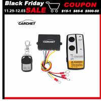 CARCHET Universal Wireless Winch Remote Control Kit 12V 50ft 2 Fernbedienungen Mit Anzeige licht Auto Detektor Für Lkw Jeep ATV SUV