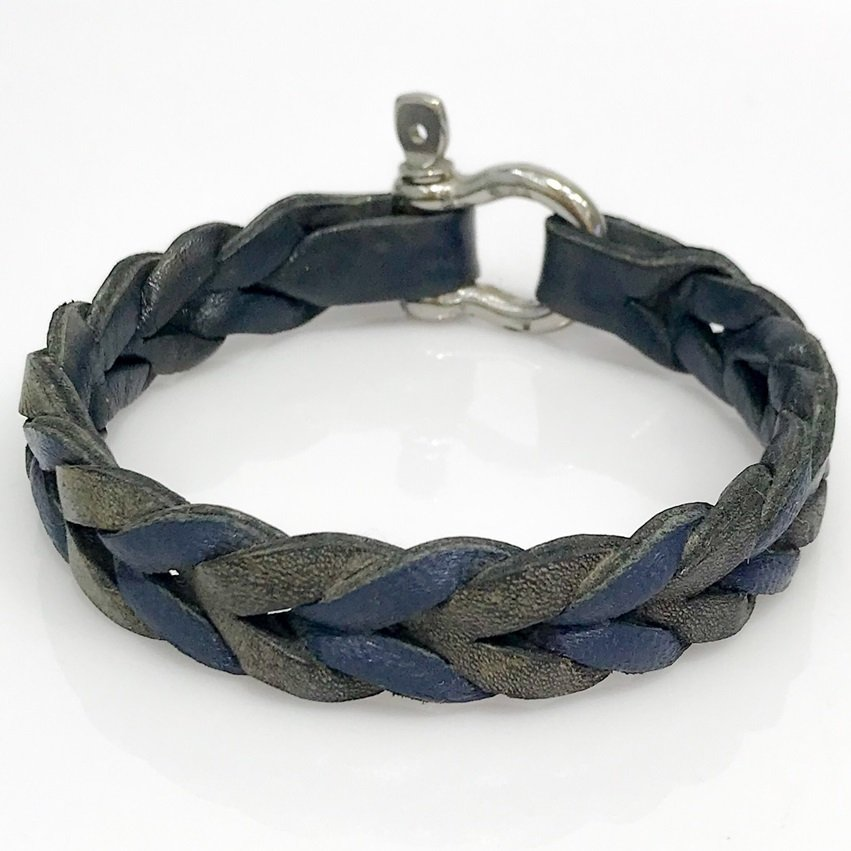 Smoked Navy Blue Genuine Leather Steel Male Bracelet