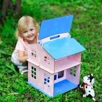 Dolls Home Toys house New Year Gifts Diy Doll House Miniature Wooden Building Brithday doll accessory block part plywood DFM 2