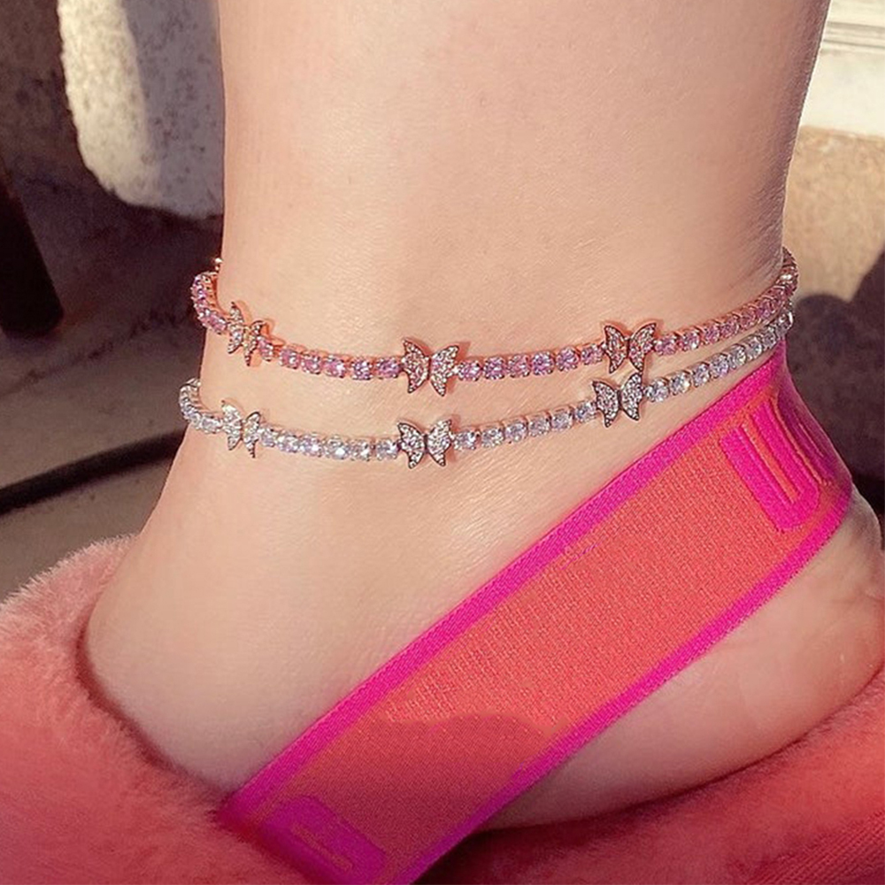 New Luxury Rhinestone Butterfly Anklet Bracelet Wholesale for Women Indian Barefoot Ankle Beach Accessories Tennis Anklet Chain 1
