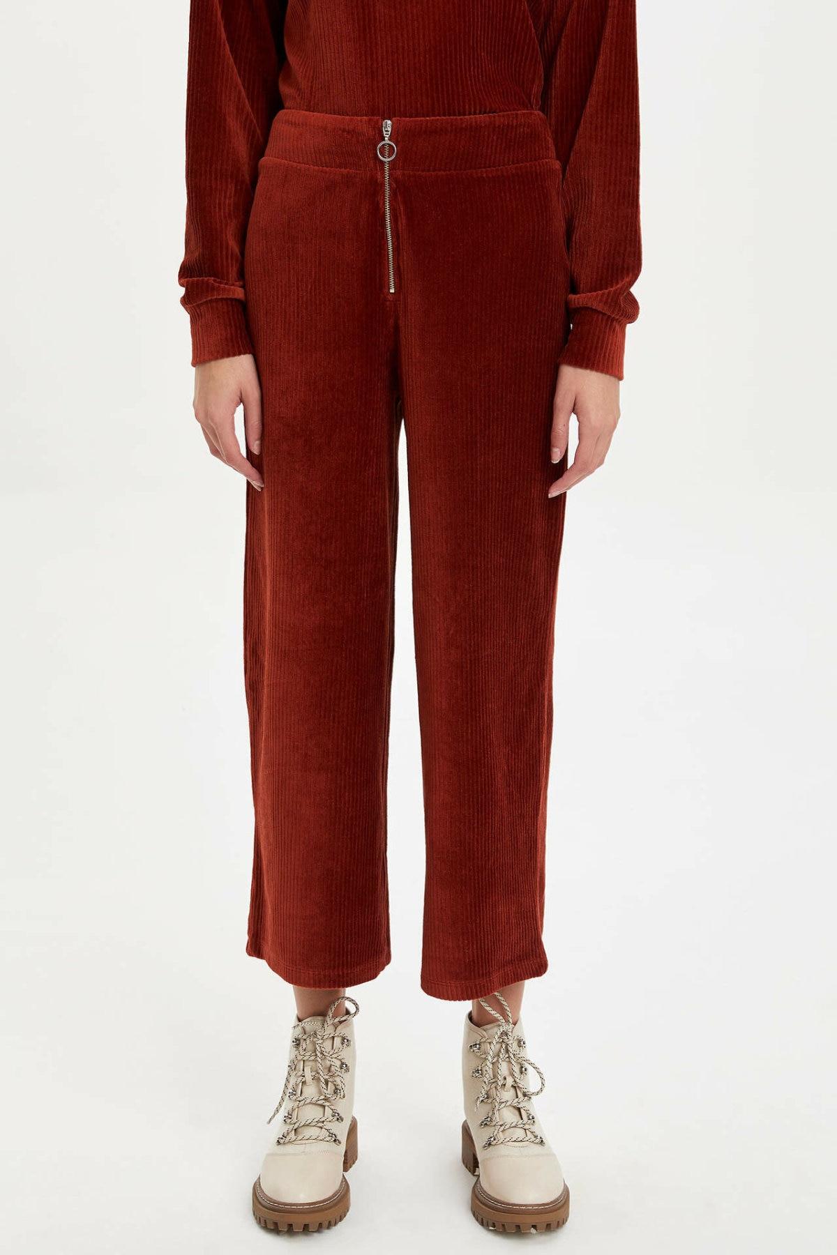 DeFacto Fashion Woman Cotton Trousers Casual Solid Color Striaght Crop Pants Zipper Waist Leisure Breathable Pant - M6600AZ19WN