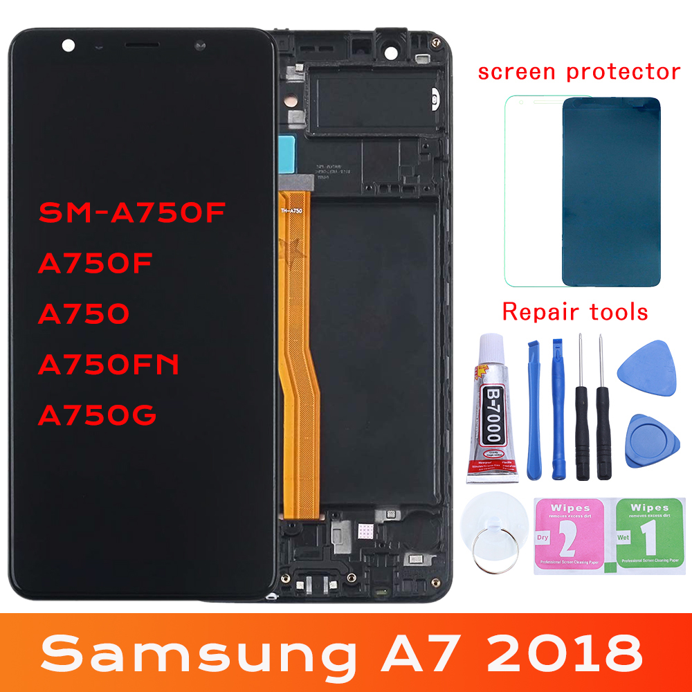 For <font><b>Samsung</b></font> Galaxy A7 2018 <font><b>A750</b></font> A750F SM-A750F A750FN A750G <font><b>LCD</b></font> Display+Touch Screen Digitizer Assembly Free Tools image