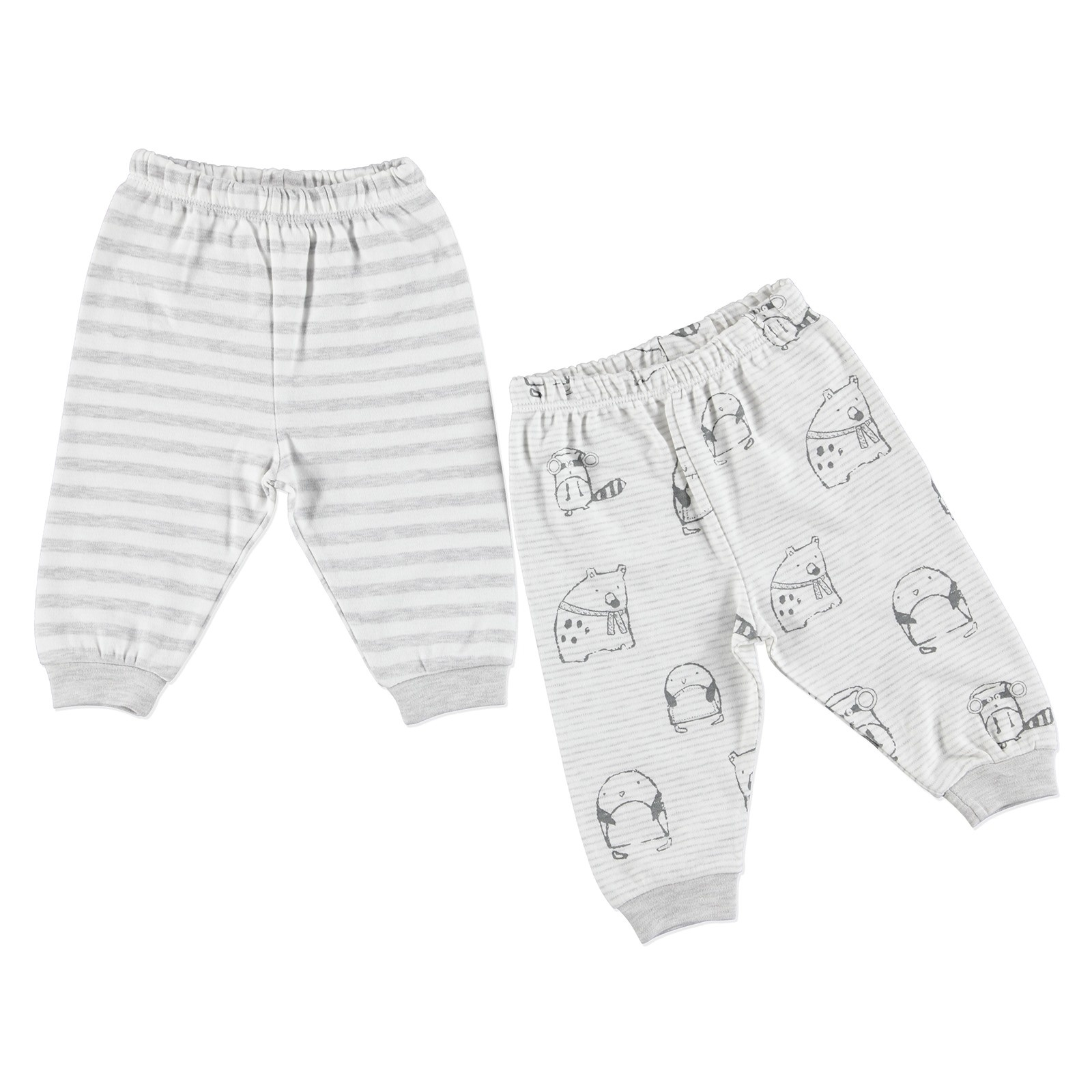 Ebebek Luggi Winter Baby Boy Polar Animals Trousers 2 Pcs