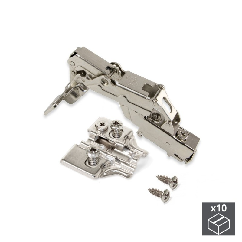 Lot Of 10 Hinges Supercodo X91 Emuca Opening 165 ° With Soft Closing And Supplements Euro Regulation Eccentric