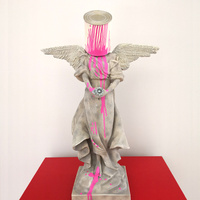Banksy Pink Angel Modern Home Decoration Accessories Modern Ornaments Creative Table Statue Resin Desk Decor