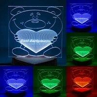 N 086 Bear with heart 3D 3D USB led Eco friendly lamp night light, hand, table night light, home decor,
