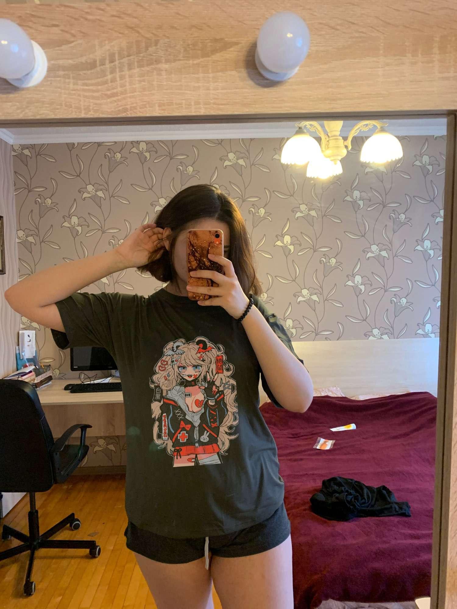 Japan vintage anime cartoon t shirt women clothes gothic tshirt streetwear print loose tops Korean summer black t-shirt photo review