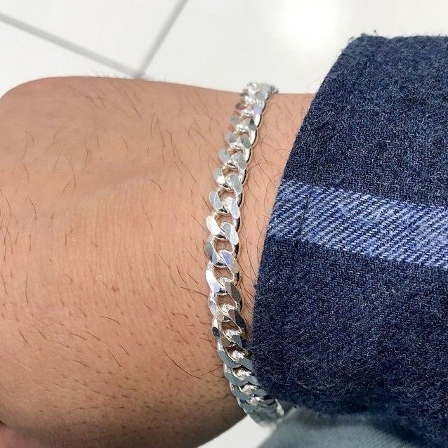 314cc 7 mm Classic Silver Chain Men 'S Bracelet