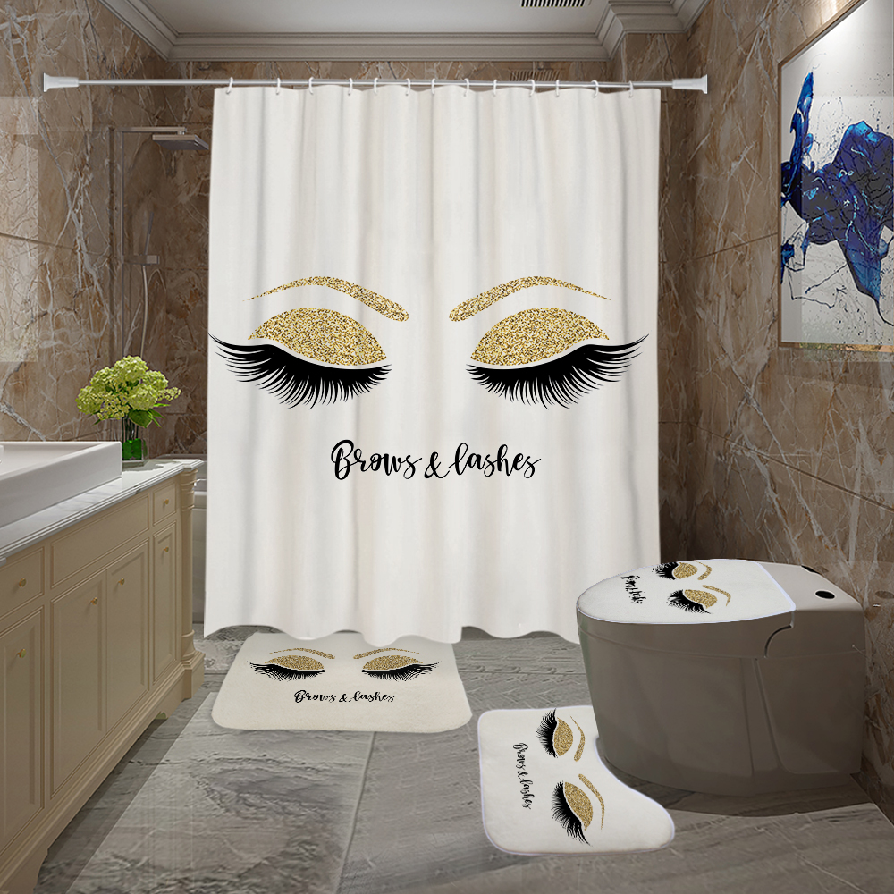 Eyelashes Print Bathroom Curtain Set With 12PCS Plastic Hooks For With Toilet Seat Cover 2