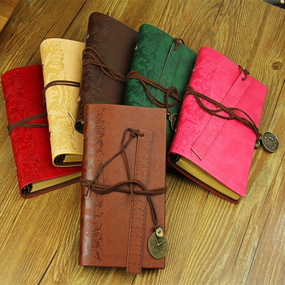 1Pcs Hot Retro Classic Vintage Leather Bound Blank Pages String Journal Diary Line Notebook Sketchbook Gift Fighting Girl