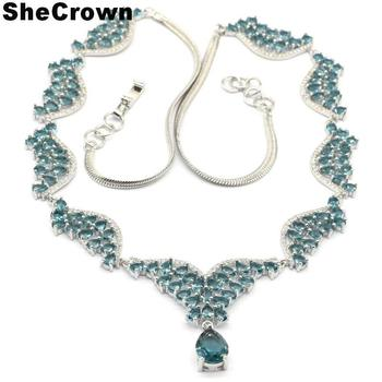40x32mm Beautiful 24.6g London Blue Topaz White CZ Engagement Woman's Gift Silver Necklaces 18-19inch