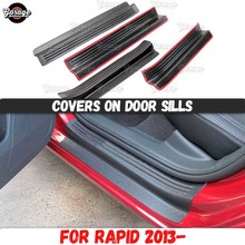 Guard covers on door sills for Skoda Rapid 2013 2018 ABS plastic pads accessories protective plates scratches car styling tuning