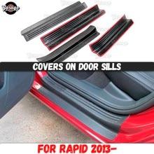 Protetor cobre em soleiras da porta para skoda rapid 2013 2018 abs almofadas de plástico acessórios placas de proteção arranhões estilo do carro tuning