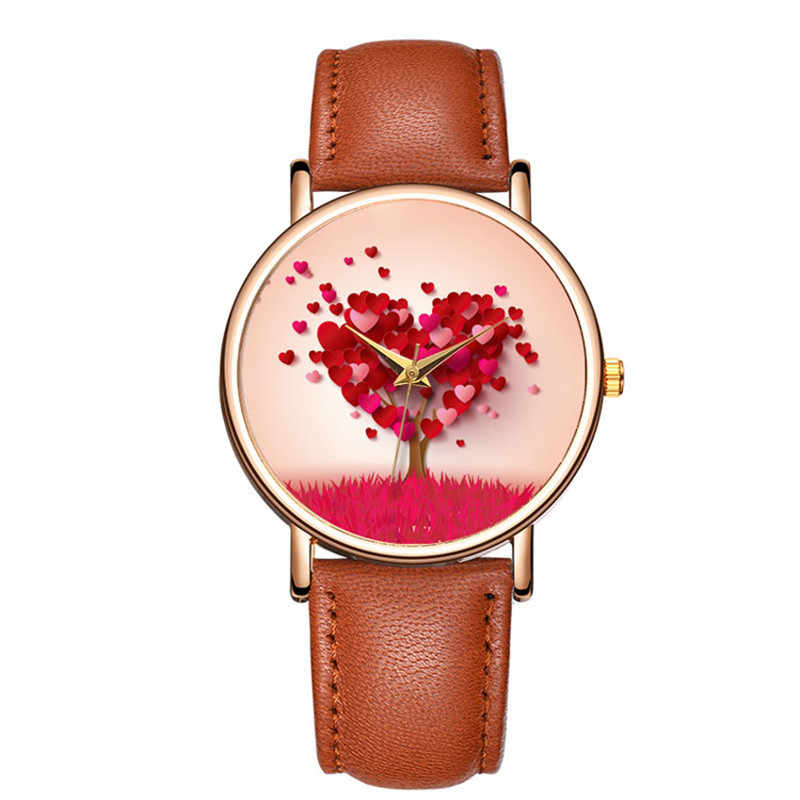 Kadın saatler moda deri kol saati kadın saatler bayanlar izle kalp ağacı saati hediyeler zegarek damski Relojes Mujer 2020