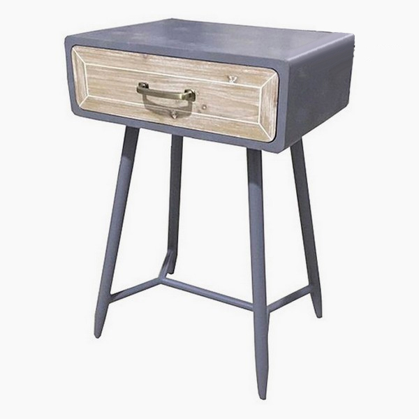 Nightstand Fir Wood Iron (45 X 35 X 69 Cm)
